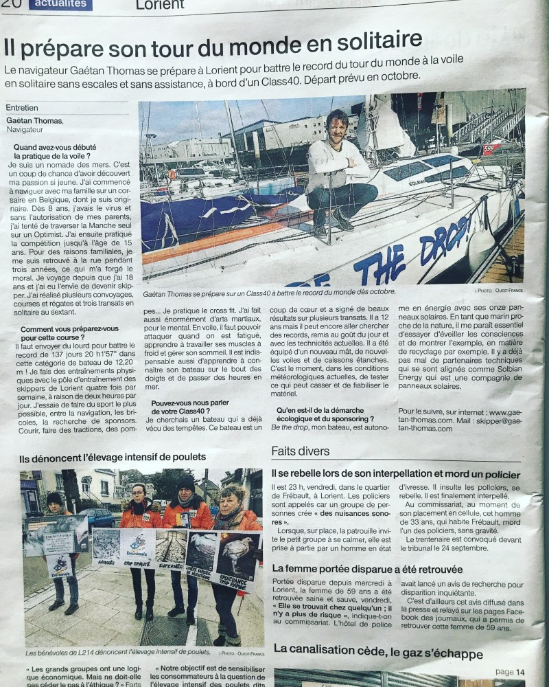Gaetan Thomas - France Press article - Ouest France Newspaper